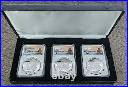 2019 G/S/Y NGC Silver Panda 3-Coin Set MS70 Tong Fang Singed in Box