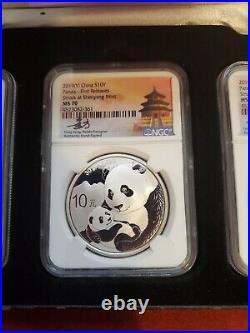 2019 (g) (y) (s) Silver China Panda 3 Coin Set Ngc Ms 70 Fr Tong Fang Signature