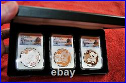 2019 (s) (y) (g) China Silver Panda 3-coin Set Ngc Ms70 Fr Tong Fang Signature