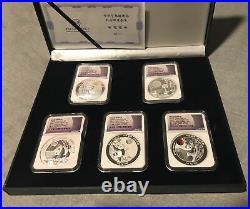 2020 China 2oz Silver Moon Festival Panda 5pc Legacy Proof Set NGC PF 70 UC FDOI