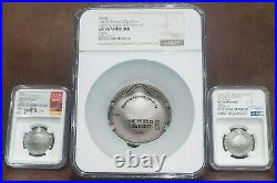 2020 NGC MS 70 Antiqued CHINA 276g Silver ONE WORLD-ONE FIGHT 3 Coin Set