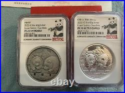 2020 SET OF China Lunar MOUSE Panda 2oz Silver Antique & Proof NGC 70 Mintage 99