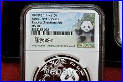 2020 (s) (y) (g) China Silver Panda 3-coin Set Ngc Ms70 Fr Song Lina Signature