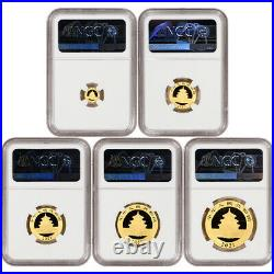 2021 (G) China Gold Panda 5 pc Year Set NGC MS70 First Day Issue Fang Signed