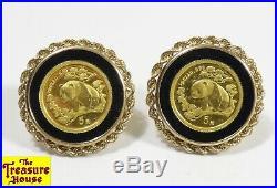 24K Pure Gold Bullion China Panda 9-Coin Onyx Accent 14K Earrings & Bracelet Set