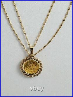 24KT Gold PANDA COIN, Bezel Set Pendant with 18KT Solid Gold 24 Fancy Link Chain