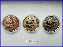 3 Coins Box Set 2000 China Panda Gilded 10 Yuan 1 Oz. 999 Silver Coin