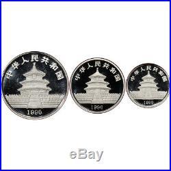 3-pc. 1990 China Platinum Panda Proof Set Gem Proof