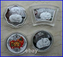 4 Pieces of China 2019 Pig Silver 30g Coins Set