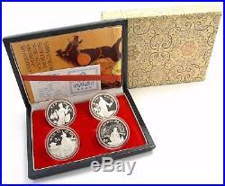4 x 5 Yuan China 1989 Silber- Münzen Bedeutende Persönlichkeiten Set im Etui