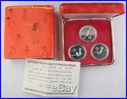 CHINA 1979 3X 0.4 Oz Silver Coin/Medal Proof Set 4th National Games +COA & BOX