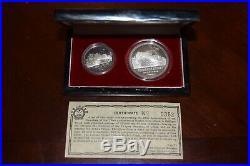 CHINA 1985 Founding of Tibet 10 YUAN & 1 YUAN Silver PROOF Coin Set with box/COA