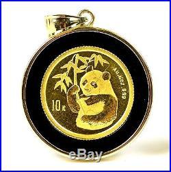 China 1/10 1/20 oz. 999 Gold Panda Coins in 14k Onyx Bezel Pendant Earrings Set
