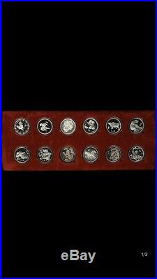China 12pc lunar silver medal coins set, shenyang mint