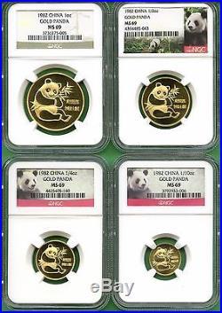 China 1982 Panda Gold Set Ngc Ms 69 4 Coins Very Rare