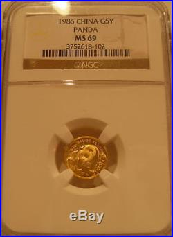 China 1986 Gold 5 Coin Full UNC Panda Set All Coins NGC MS-69