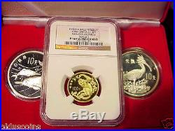China 1988 3 Coin Set Gold 100y Monkey Ngc Pf69 Uc 10y Ibis 10y Dolphins Coa