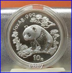 China 1989, 1995 (x2), 1996 & 1997 Panda Silver S10Y 1oz x5 coins lot set