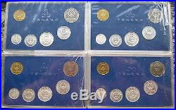 China 1997,1998,1999,2000 Official Mint Set of 6 Coins, BU