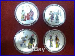 China 2000 Colored 4 Pcs of 1oz Silver Coins Set Peking Opera (2nd Issue)