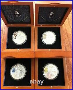 China 2008 Beijing Olympic Games Complete 4-Coin Silver Set with boxes and coa's