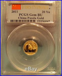 China 2011 Gold 5 Coin Full Prestige Panda First Strike Set All CoinsPCGS GemBU