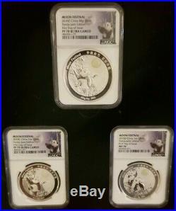 China 2018 1 Oz 88g Silver Panda Jade Moon Festival 3 Coin Set NGC PF 70 FDOI
