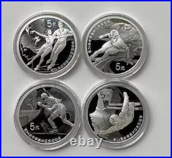 China 2022 One Set (4 Pcs of 15g Silver Coins) XXIV Olympic Winter Games