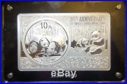 China 3 Oz. Silver Panda Coin/bar Set 2013. Boxed With C. O. A