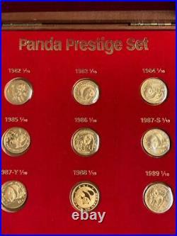 China Chinese Gold Panda 1/10 oz Prestige SET 9 Coin 1982 to 1989
