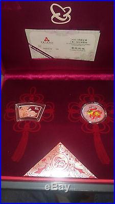 China Hase / Rabbit 2 Coin Set 2011 Rund, Farbe, Colour 2x 1 oz Silber