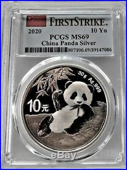 China Panda Silver coins COMPLETE SET (32 COINS) PCGS MS 69 10 Yn