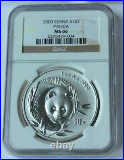Early Year China Silver Panda 5 coin SET NGC & PCGS MS69, MS67, MS66 S10Y 1oz