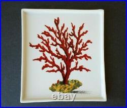 Fabienne Jouvin Paris Porcelain Coin Tray Plates Set of 3 Coral Motif Art