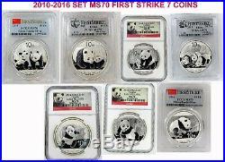 Gem Superb 2010-2016 Set 10 Yn Panda Silver 7 Coins China Ms70 First Strike