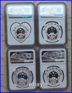 NGC PF70 2017 China 30g Silver Coins Set (4 Pcs)- Chinese Auspicious Culture
