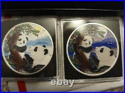 Night and Day Colored Set Silver Panda 2021 2x 30 grams in case COA 500 MADE U. S