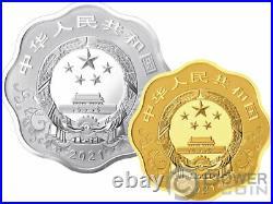 OX Lunar Year Blossom Set Silver Coin 10 Yuan Gold Coin 200 Yuan China 2021