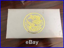 Original Wood Box for 1990 2 pc Set Gold/Silver Proof Phoenix & Dragon (No Coin)