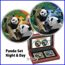 PANDA DAY & NIGHT COLOR 2021 2 X 30 Grams Silver Coin Set in Wood Case