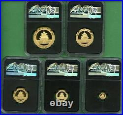 PANDA GOLD 2018 SET CHINA NGC MS 70 1.8326 oz 5 COINS EARLY RELEASE