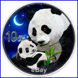 Panda Day & Night Color 2019 2 X 30 Grams Silver Coin Set In Wood Case