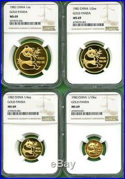 Panda Gold 1982 Set China Ngc Ms 69 1.85 Oz 4 Coins