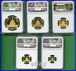 Panda Gold 1987 Small Date Set China Ngc Ms 69 1.90 Oz 5 Coins