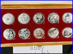 Panda Silver Coin Set 2002-2011 MINT Set With Box
