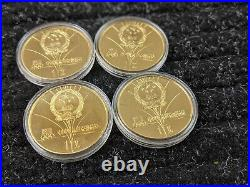 Rare 1980 Brass China 4 Coin Olympic Sports Proof Set Complete #803