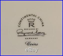 Rare Vintage Rosenthal 1950's Coins China by Raymond Loewy Creamer & Sugar Set