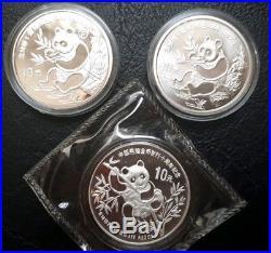 Set Of Three 1991 Silver Panda Coins, Bu, Proof, And Piedfort (no coa)