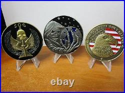 Set of 10 Challenge Coins CIA Trump SAD Reaper SOG Seal Team VI Spy vs Spy NOC