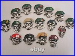 Set of 16 Skull Challenge Coins USAF CCT TACP PJ SF Army Ranger Delta Force SAS